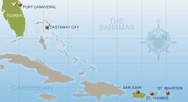7 Night Eastern Caribbean Disney Cruise map