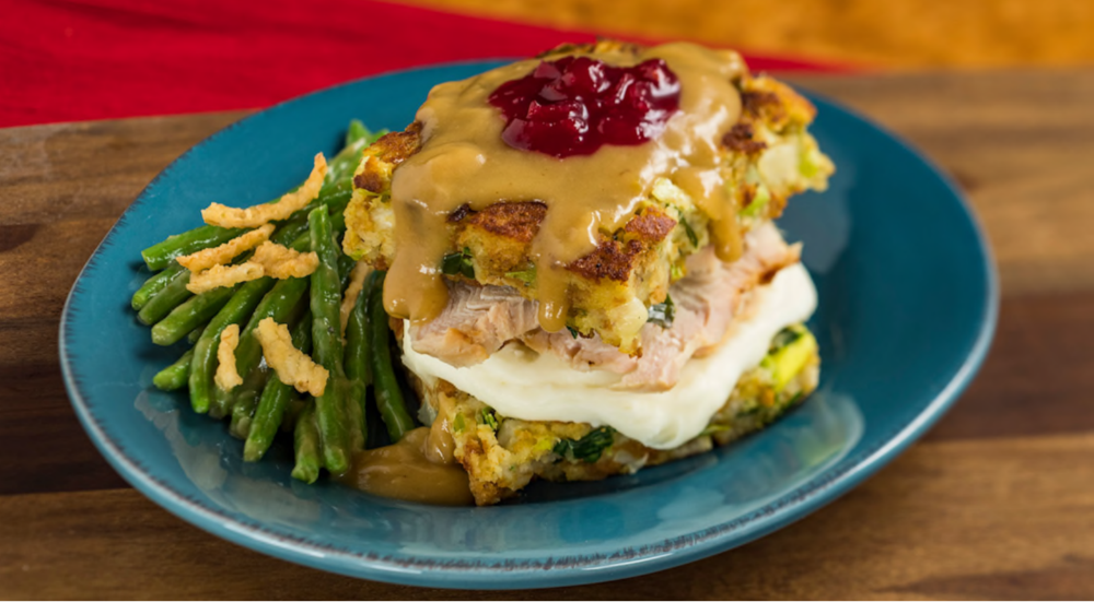 Slow-roasted Turkey with Stuffing, Mashed Potatoes, Green Beans and Cranberry Sauce