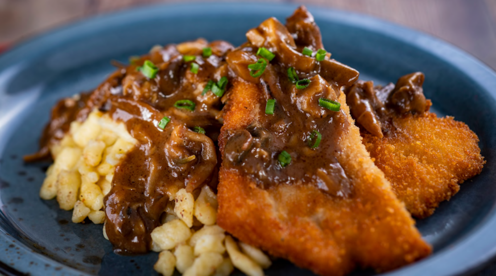 Pork Schnitzel with Mushroom Sauce and Spaetzle